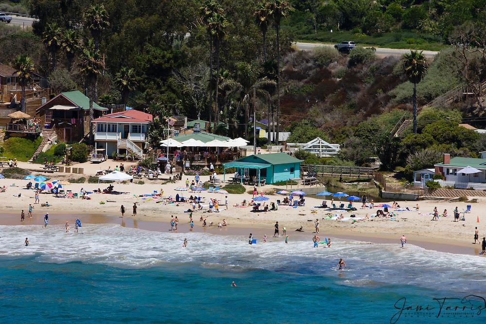 An aerial of the beach and quaint beach houses of Crystal Cove in north Laguna Beach,Pacific Ocean, Laguna Beach,California,USA