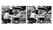 Chinese ladies playing cards in Columbus Park in Chinatown, NYC. The change in one lady's expression required the use of a diptych format.