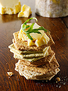 English Cheddar cheese and biscuits stock photos