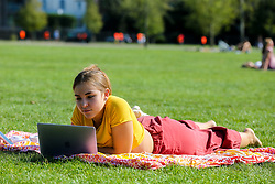 © Licensed to London News Pictures. 13/09/2020. London, UK. Flabia working on her laptop and enjoys warm and sunny weather in Finsbury Park, north London as mini heatwave hits London.<br /> <br /> ***Permission Granted***<br /> <br /> Photo credit: Dinendra Haria/LNP