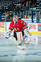 KELOWNA, CANADA - APRIL 8: Cole Kehler #31 of the Portland Winterhawks enters the ice for warm up against the Kelowna Rockets on April 8, 2017 at Prospera Place in Kelowna, British Columbia, Canada.  (Photo by Marissa Baecker/Shoot the Breeze)  *** Local Caption ***