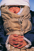 Baby bundled against cold<br /> Mongolia