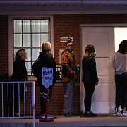 CHARLOTTE, NC - MARCH 3: Potential voters wait in line at Midwood Baptist Church to cast a ballot in the North Carolina primary on Super Tuesday in Charlotte, NC on March 3, 2020. North Carolina will be the 3rd largest haul of delegates at 110. (Photo by Logan Cyrus for AFP)