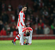 Arsenal's Kieran Gibbs looks on dejected at the final whistle as Santi Cazorla walks past<br /> <br /> Barclays Premier League- Arsenal vs Manchester United - Emirates Stadium - England - 22nd November 2014 - Picture David Klein/Sportimage