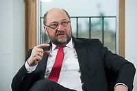 22 FEB 2016, BERLIN/GERMANY:<br /> Martin Schulz, SPD, Praesident des Europaeischen Parlamentes, waehrend einem Interview, Spiegel Hauptstadtbuero<br /> IMAGE: 20160222-01-023