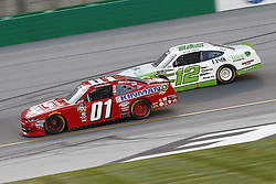 July 13, 2018 - Sparta, Kentucky, United States of America - Vinnie Miller (01) and Austin Cindric (12) battle for position during the Alsco 300 at Kentucky Speedway in Sparta, Kentucky. (Credit Image: © Chris Owens Asp Inc/ASP via ZUMA Wire)