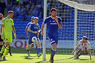 Cardiff City's Sean Morrison © celebrates after scoring Cardiff's 1st goal to equalise at 1-1.  EFL Skybet championship match, Cardiff city v Brentford at the Cardiff City Stadium in Cardiff, South Wales on Saturday 8th April 2017.<br /> pic by Carl Robertson, Andrew Orchard sports photography.