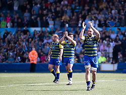 Cardiff Blues' Josh Turnbull applauds the fans<br /> <br /> Photographer Simon King/Replay Images<br /> <br /> European Rugby Challenge Cup - Semi Final - Cardiff Blues v Pau - Saturday 21st April 2018 - Cardiff Arms Park - Cardiff<br /> <br /> World Copyright © Replay Images . All rights reserved. info@replayimages.co.uk - http://replayimages.co.uk