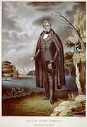 William Henry Harrison (1773-1841) American soldier and politician. Ninth President f the United States of America 1841. Died on 32nd day in office, the shortest presidential tenure to date and first President to die in office. Coloured lithograph.