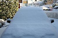 Snow covered car in Dublin Ireland