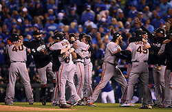 The Giants celebrate after Game 7 of the World Series, 2014 World Series Champion Giants