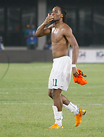 Photo: Steve Bond/Richard Lane Photography.<br />Nigeria v Ivory Coast. Africa Cup of Nations. 21/01/2008. Didier Drogba acknowledges the crowd after Ivory Coast win