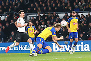 Derby County forward David Nugent (28) shoots at goal during the The FA Cup 3rd round match between Derby County and Southampton at the Pride Park, Derby, England on 5 January 2019.