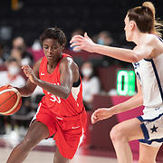 TOKYO, JAPAN August 8:  Evelyn Mawuli #30 of Japan defended by Breanna Stewart #10 of the United States during the Japan V USA basketball final for women at the Saitama Super Arena during the Tokyo 2020 Summer Olympic Games on August 8, 2021 in Tokyo, Japan. (Photo by Tim Clayton/Corbis via Getty Images)