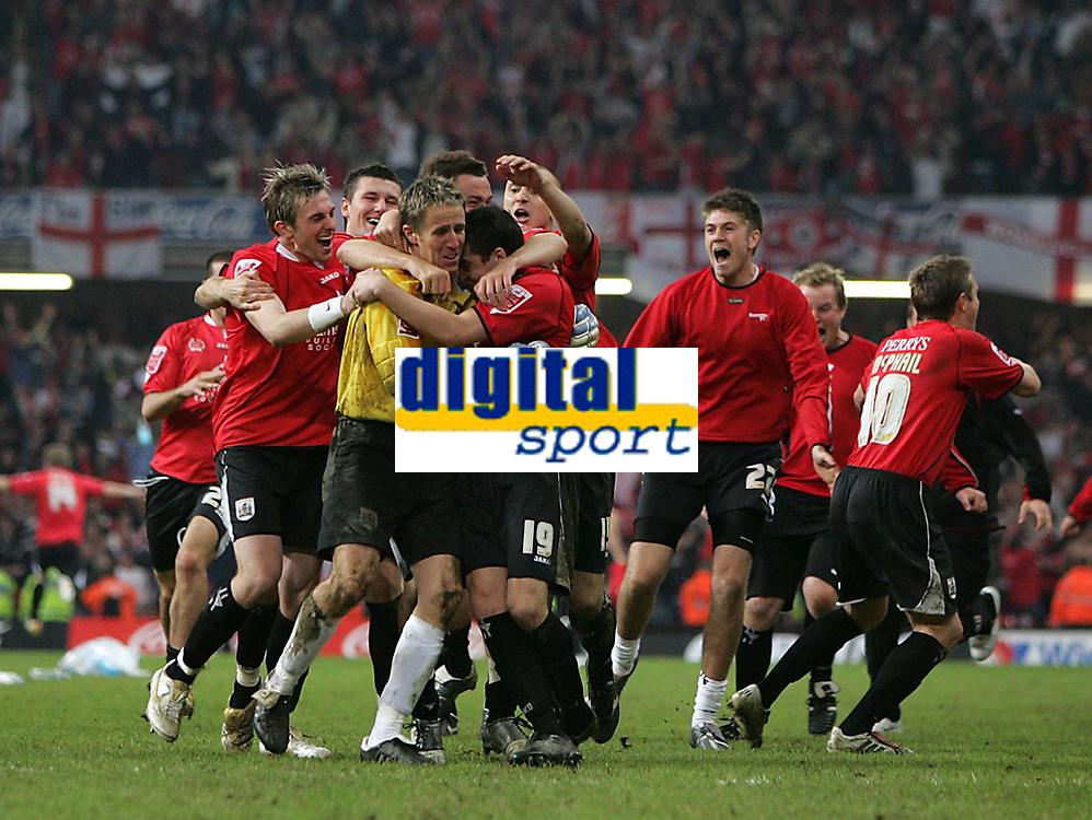 Photo: Lee Earle.<br /> Barnsley v Swansea City. Coca Cola League 1. Play off Final. 27/05/2006. Barnsley keeper Nick Colgan is mobbed after saving Swansea's last penalty.