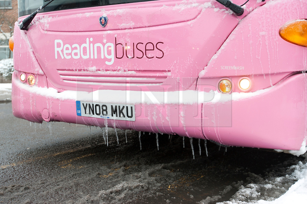 © Licensed to London News Pictures. 18/01/2013. Caversham, Reading, UK. Icicles hang to a Reading Bus, but most routes are drivable. Photo credit : Rebecca Mckevitt/LNP