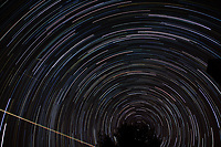 Winter Night Sky -- Star Trails -- Quadrantids Meteors. Composite of 122 images taken with a Nikon D3x and 24 mm f/1.4 lens (ISO 100, 24 mm, f/2, 59 sec) combined using the Startrails program.