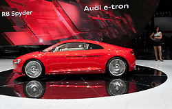 Audi R8 Spyder e -Tron electric powered supercar energy supplied by lithium batteries at the Frankfurt Motor Show 2009