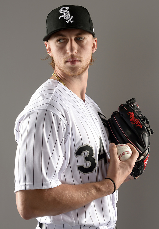 GLENDALE, ARIZONA - FEBRUARY 21:  Michael Kopech #34 of the Chicago White Sox poses for a portrait during White Sox photo day on February 21, 2019 at Camelback Ranch in Glendale Arizona.  (Photo by Ron Vesely)  Subject:  Michael Kopech