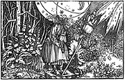 Old woman (witch or fairy) spinning. Woodcut attributed to Holbein from Boethius 'De consolatione philosophiae' 1547.