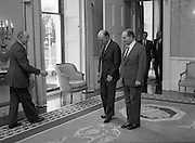 President Mitterand .at Áras an Uachtaráin..1984..21.02.1984..02.21.1984.21st February 1984..On a state visit to Dublin The French President, Mr Francois Mitterand,paid a visit to Áras an Uachtaráin,where he was greeted by The Irish President,Mr Patrick Hillery. ..Image of Presidents Hillery and Mitterand as they take their positions for the Photo Shoot. in the back ground are The Minister for Foreign Affairs, Mr Peter Barry T.D. and The French Minister for European Affairs,Mr Roland Dumas.