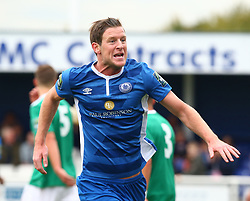 October 7, 2017 - Billericay, England, United Kingdom - Adam Cunnington of Billericay Town celebrates scoring his sides second goal .during Bostik League Premier Division match between Billericay Town against Hendon FC at New Lodge Ground, Billericay on 07 Oct 2017  (Credit Image: © Kieran Galvin/NurPhoto via ZUMA Press)