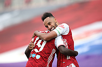 Football - 2020 Emirates 'Heads Up' FA Cup Final - Arsenal vs. Chelsea <br /> <br /> Pierre-Emerick Aubameyang (A) celebrates scoring the winning goal, with Nicolas Pepe (A), at Wembley Stadium.<br /> <br /> The match is being played behind closed doors because of the current COVID-19 Coronavirus pandemic, and government social distancing/lockdown restrictions.