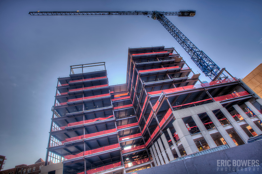 Construction underway on the Plaza Vista project in Kansas City, Missouri. Polsinelli Shughart anchor tenant, developed by VanTrust Real Estate, general contractor JE Dunn.