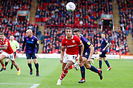 Barnsley forward Jacob Brown (33) with his eyes on the ball during the EFL Sky Bet League 1 match between Barnsley and Luton Town at Oakwell, Barnsley, England on 13 October 2018.