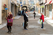 safe distance social interaction in the street during Covid 19 crisis France Limoux April 2020
