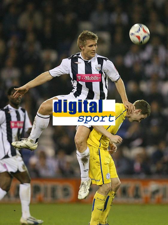 Photo: Rich Eaton.<br /> <br /> West Bromwich Albion v Sheffield Wednesday. Coca Cola Championship. 13/04/2007. West Broms Martin Albrechtsen jumps highest