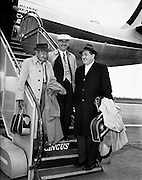 """Arrival from new York of Barry Fitzgerald and J. J. O'Leary and Jack Feeney (John Ford).02/05/1959..Barry Fitzgerald (10 March 1888 - 14 January 1961) was an Irish stage, film, and television actor...J.J. O'Leary was Fitzgerald's best friend, the owner of a printing works...John Ford (February 1, 1894 - August 31, 1973) was an American film director. He was famous for both his westerns such as Stagecoach, The Searchers, and The Man Who Shot Liberty Valance, and adaptations of such classic 20th-century American novels as The Grapes of Wrath. His four Academy Awards for Best Director (1935, 1940, 1941, 1952) is a record, and one of those films, How Green Was My Valley, also won Best Picture..In a career that spanned more than 50 years, Ford directed more than 140 films (although nearly all of his silent films are now lost) and he is widely regarded as one of the most important and influential filmmakers of his generation. Ford's films and personality were held in high regard by his colleagues, with Ingmar Bergman and Orson Welles among those who have named him as one of the greatest directors of all time..In particular, Ford was a pioneer of location shooting and the long shot which frames his characters against a vast, harsh and rugged natural terrain..Ford was born John Martin """"Jack"""" Feeney (though he later often gave his given names as Sean Aloysius, sometimes with surname O'Feeny or O'Fearna; an Irish language equivalent of Feeney). The man named as John Feeney in that shot is not John Ford the film director (born John Feeney).<br /> The man in the shot is John Feeney (1903 – 1967) born in Swinford, Co. Mayo, he had a successful career as a professional tenor and radio presenter in the US.<br /> Harry Bradshaw Info"""