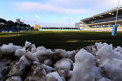 Snow remains at the ends of the Sixways pitch - Mandatory by-line: Nick Browning/JMP - 09/01/2021 - RUGBY - Sixways Stadium - Worcester, England - Worcester Warriors Women v DMP Durham Sharks - Allianz Premier 15s
