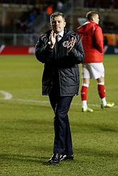 Bristol City Manager Steve Cotterill celebrates after the match ends 1-1 (5-3 on aggregate) allowing Bristol City to progress to the Final at Wembley - Photo mandatory by-line: Rogan Thomson/JMP - 07966 386802 - 29/01/2015 - SPORT - FOOTBALL - Bristol, England - Ashton Gate Stadium - Bristol City v Gillingham - Johnstone's Paint Trophy Southern Area Final Second Leg.