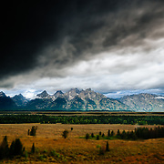 A severe thunderstorm moves up the Jackson Hole Valley of Grand Teton National Park.