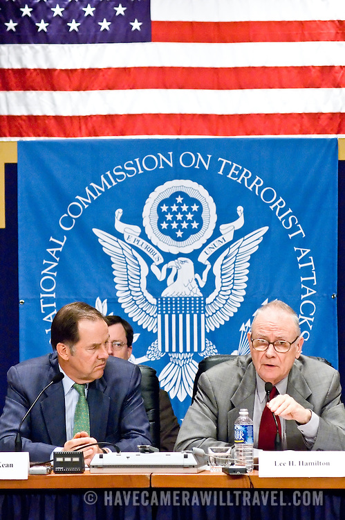 """Thomas Kean (left) and Lee Hamilton (right). Panel: FAA Response on 9/11. The 9/11 Commission's 12th public hearing on """"The 9/11 Plot"""" and """"National Crisis Management"""" was held June 16-17, 2004, in Washington, DC."""