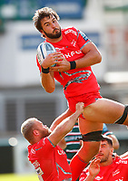 Rugby Union - 2019 / 2020 Gallagher Premiership - Leicester Tigers vs Sale Sharks<br /> <br /> Lood De Jager of Sale Sharks wins a line out at Welford Road.<br /> <br /> COLORSPORT/LYNNE CAMERON