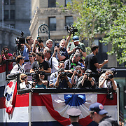 The photographers float covering The US Women's Soccer Team as they Parades Down NYC's 'Canyon of Heroes', Manhattan New York, during their ticker tape parade after winning the FIFA World Championship. A ceremony at City Hall Plaza followed the parade hosted by Mayor Bill de Blasio. Manhattan, New York, USA 10th July 2015. Photo Tim Clayton