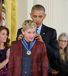 US President Barack Obama presents comedian Ellen DeGeneres with the Presidential Medal of Freedom, the nation's highest civilian honor, during a ceremony honoring 21 recipients, in the East Room of the White House in Washington, DC, November 22, 2016. Photo by Olivier Douliery/ABACA