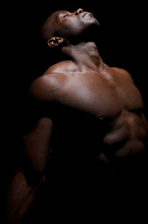 African american body builder posing