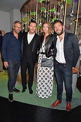 Left to right, NOE DUCHAUFOUR-LAWRANCE, LUKE EVANS, ARIZONA MUSE and BONIFACE VERNEY-CARRON at the opening of L'Eden by Perrier-Jouet held at The Unit, 147 Wardour Street, Soho, London on 15th September 2016.