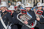 The Royal marines band leaves Whitehall - Remembrance Sunday and Armistice Day commemorations fall on the same day, remembering the fallen of all conflicts but particularly the centenary of the end of World War One.