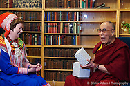 His Holiness is receiving some dry meat as a gift from Sami people. Dalai Lama