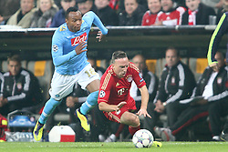 02.11.2011, Allianz Arena, Muenchen, GER, UEFA CL, FC Bayern Muenchen vs. SSC Neapel, im Bild  Juan Zuniga (Neapel #18) foult Franck Ribery (Bayern #7) und erhaelt dafuer dei Gelb Rote Karte// during the CL match  FC Bayern Muenchen (GER)  vs.  SSC Neapel  (ITA) Gruppe A, on 2011/11/02, Allianz Arena, Munich, Germany, EXPA Pictures © 2011, PhotoCredit: EXPA/ nph/  Straubmeier       ****** out of GER / CRO  / BEL ******