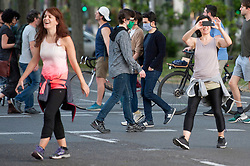 Neighbors of Madrid walk and do sports on the streets of Madrid during the health crisis due to the Covid-19 virus pandemic - Coronavirus. May 3, 2020. Photo by Alejandro de Dios/AlterPhotos/ABACAPRESS.COM