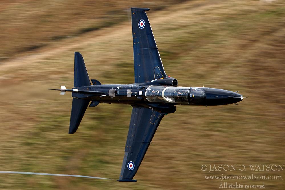 Royal Air Force BAE Systems T2 Hawk (ZK036) flies low level through the Mach Loop, Machynlleth, Wales, United Kingdom