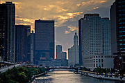 The Chicago River at Sunset