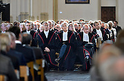 Nederland, Nijmegen, 7-5-2014Hoogleraren van de Radboud universiteit luisteren in de St. Stevenskerk naar een voordracht van Umberto Eco die de Vrede van Nijmegen penning ontvangen heeft.Foto: Flip Franssen/Hollandse Hoogte