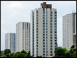 June 22, 2017 - London, London, United Kingdom - Image ©Licensed to i-Images Picture Agency. 22/06/2017. London, United Kingdom. High-rise buildings same cladding as Grenfell Tower. General view of the Chalcots Estate in Camden, North London, where pieces of cladding has been removed from each block of flats for tests. Camden Council has revealed its own independent tests show cladding on five up to 23-storey towers on its giant Chalcots Estate (pictured) is potentially dangerous and will be removed.  .it's been reported that Thousands could be evacuated from their homes after it was revealed 600 tower blocks are wrapped in cladding that could go up in the same way as Grenfell Tower and at least seven have already been found to be 'combustible'. .Picture by Andrew Parsons / i-Images (Credit Image: © Andrew Parsons/i-Images via ZUMA Press)