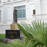 Sculpture in front of the Southeast Gold Museum that presents hundreds of golden artifacts from the private collection of founder Istvan Zelnik in Budapest, Hungary on September 15, 2011. ATTILA VOLGYI